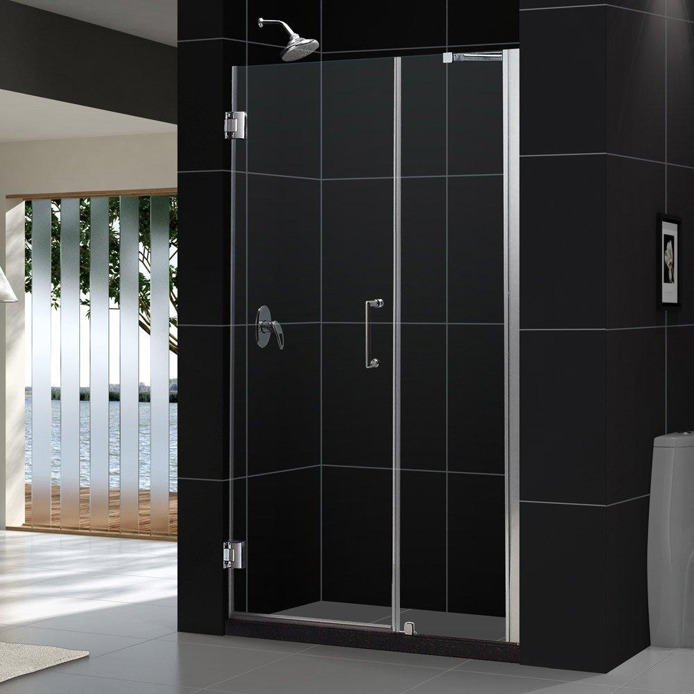 DreamLine Unidoor 46-47 in. Width, Frameless Hinged Shower Door, 3/8'' Glass, Brushed Nickel Finish by DreamLine