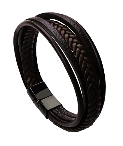 f52242d19 The Jewelbox Braided Multi-Layer Wrap Matte 100% Genuine Brown Leather  Wrist Band Strand Bracelet Boys Men Friendship Day Gift  Amazon.in   Jewellery