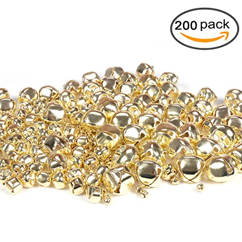 eborder 200 Pieces Multi-sized Jingle Bells Bulk Craft Making Jingle Bells Set for Kids, Craft and Christmas Decoration (Gold Silver Bells)