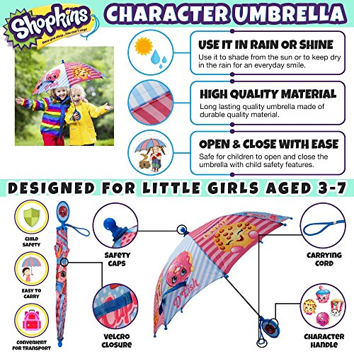 Shopkins Girls' Little Assorted Character Rainwear Umbrella, Blue/Pink, Age 3-7 by Shopkins (Image #2)