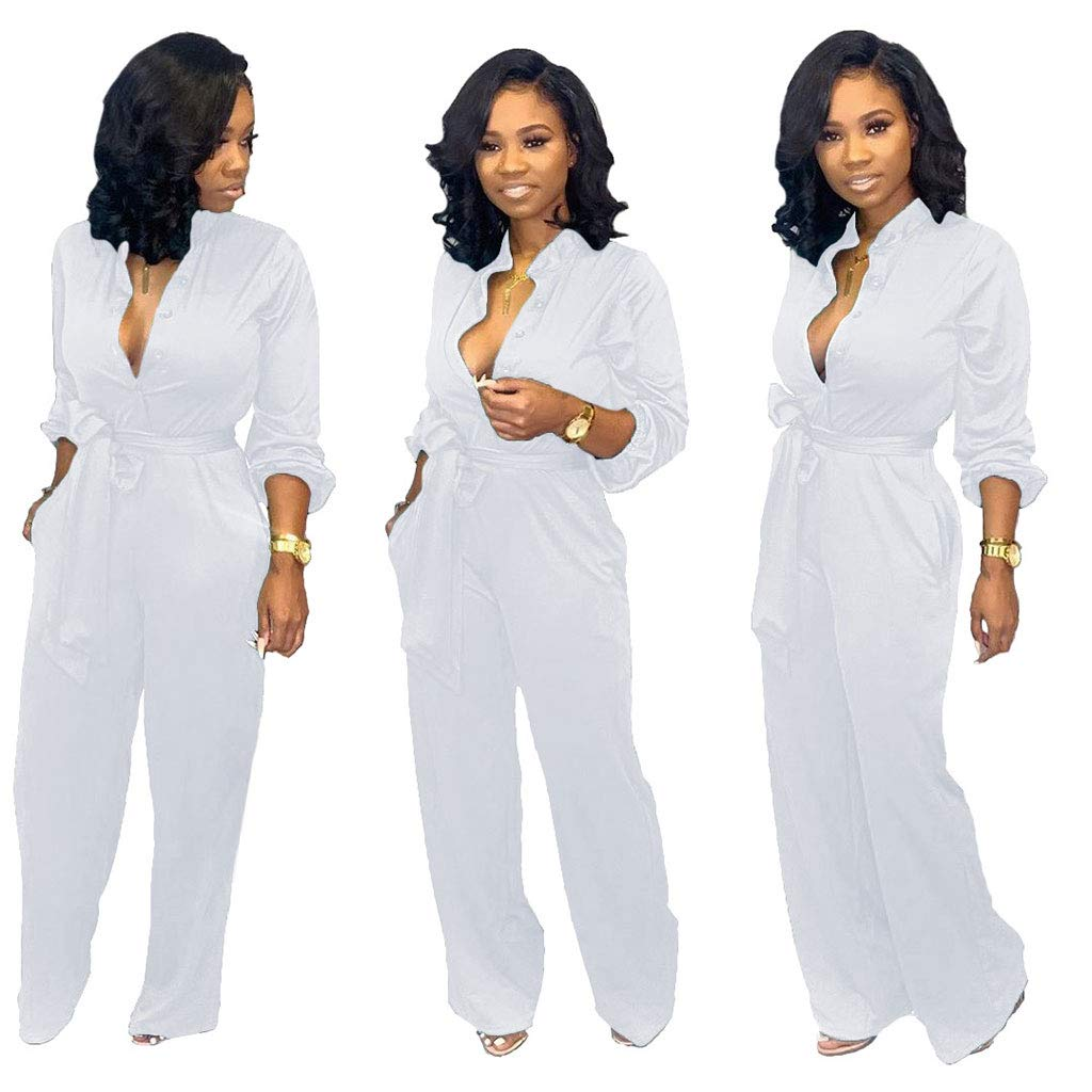 Ekaliy Women Casual Long Sleeve Jumpsuits Solid Color Wide Leg Pant Rompers White S