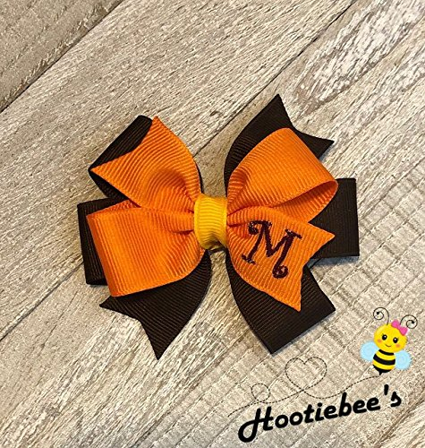 Autumn Colors Toddler Monogram Hair Bow