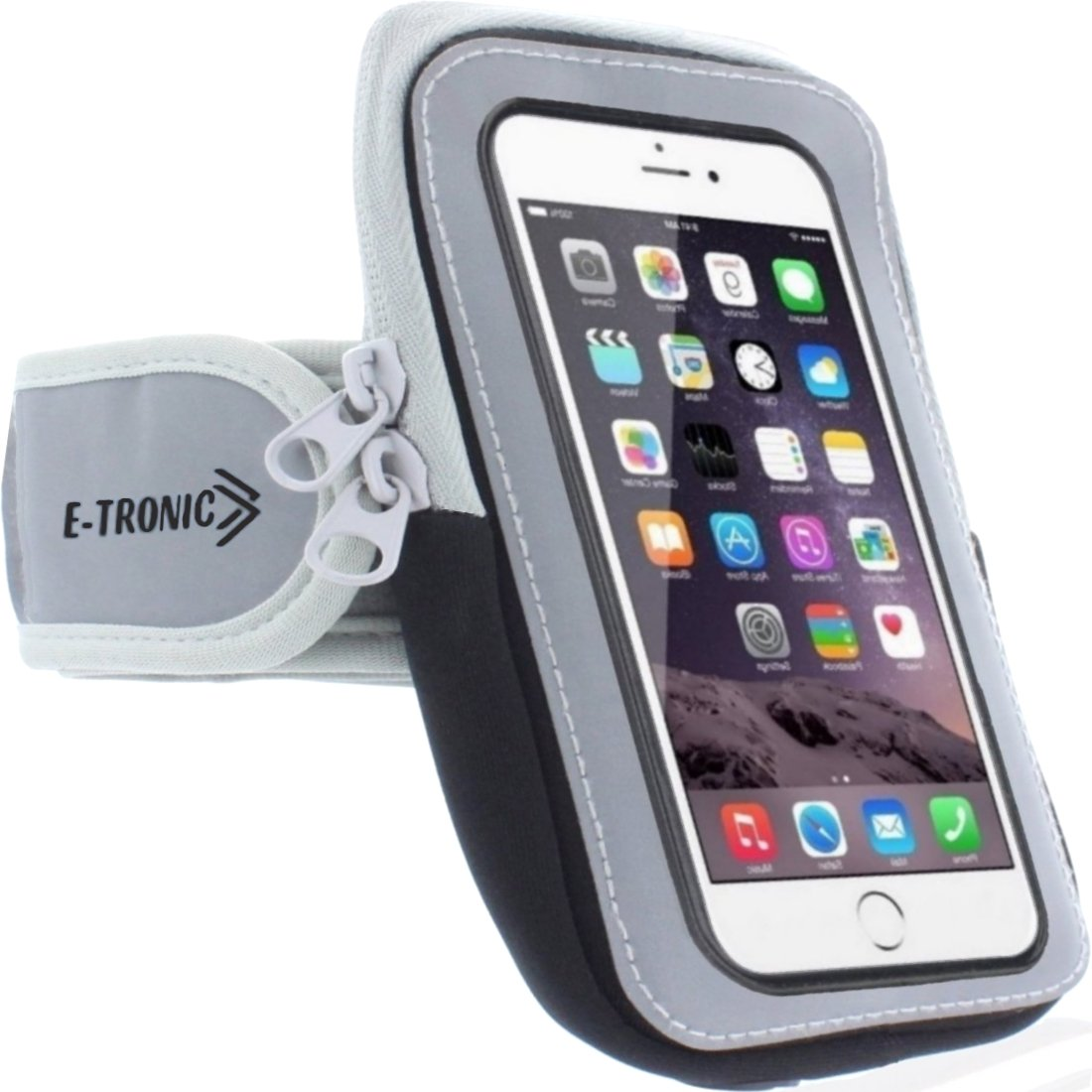 Sports Armband: Cell Phone Holder Case Arm Band Strap With Zipper Pouch/ Mobile Exercise Running Workout For Apple iPhone 6 6S 7 Plus Touch Android Samsung Galaxy S5 S6 S7 Note 4 5 Edge LG HTC Pixel by E Tronic Edge (Image #1)