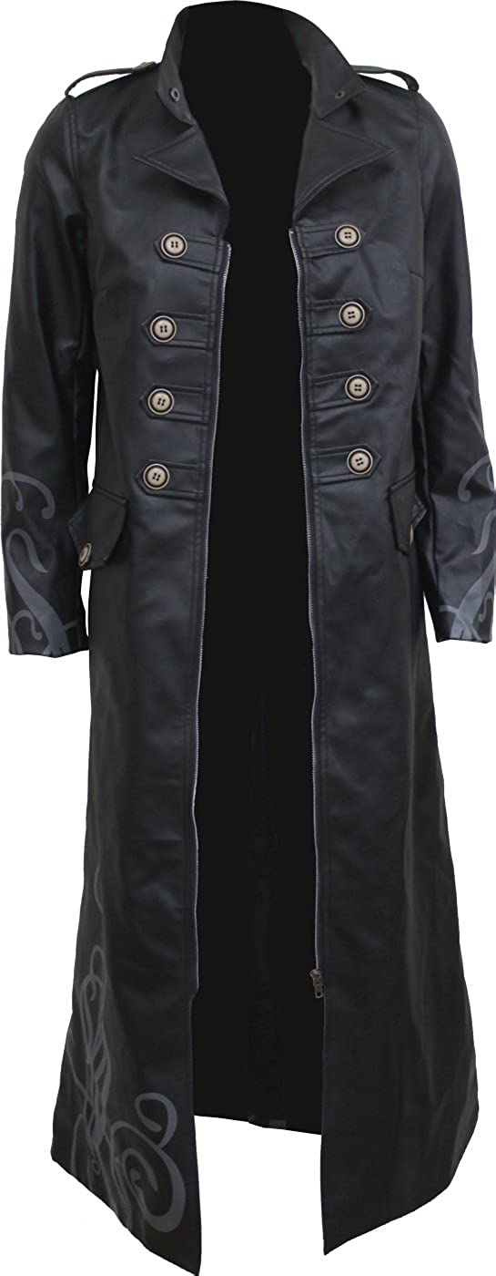 Fatal Attraction Spiral Gothic Trench Coat PU-Leather Corset Back Womens