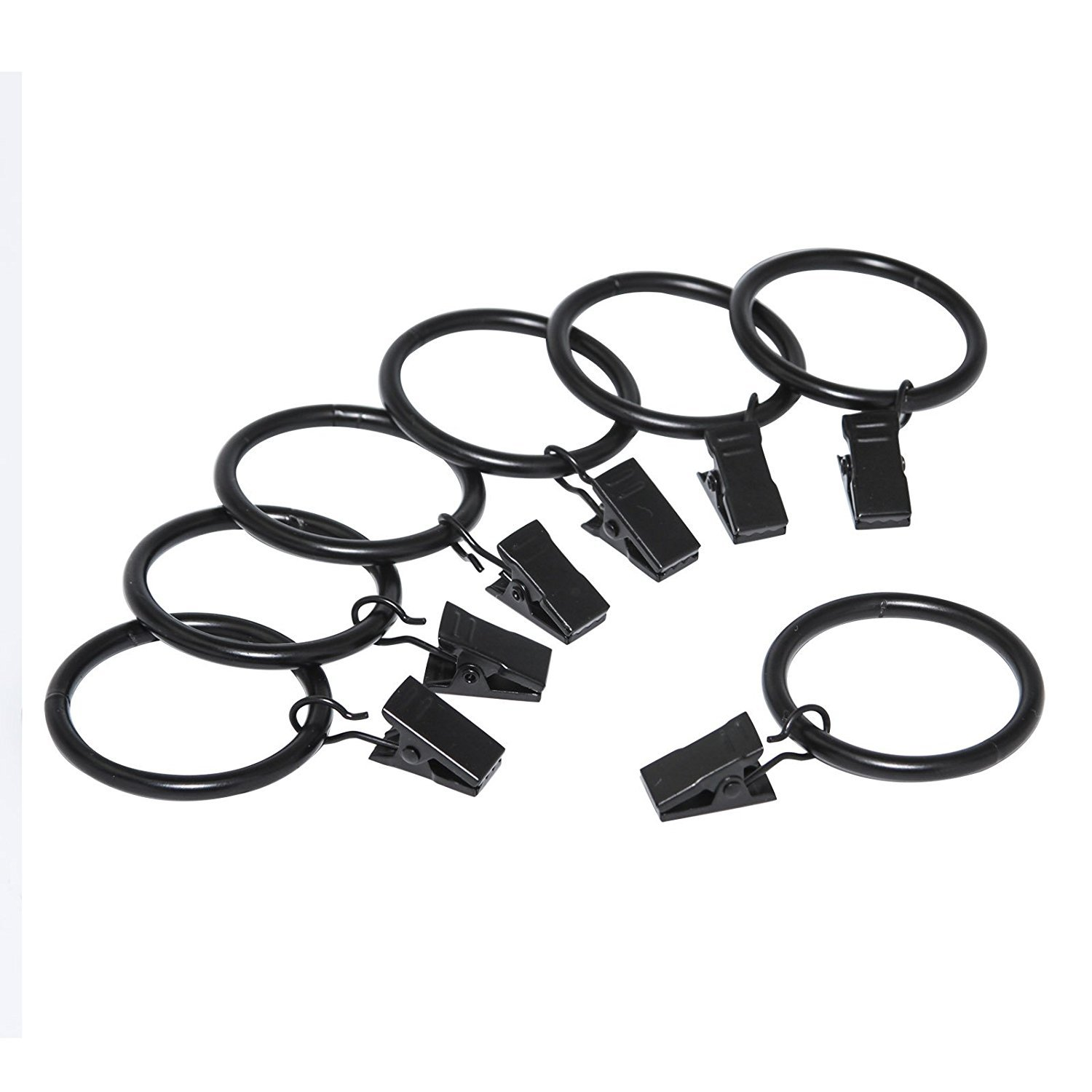 Curtain expert 30 pcs Window Curtain Rings Drapery with Clips ,Black Electroplate Surface and Premium Iron Metal Material l(1.5'' Interior Diameter Black)
