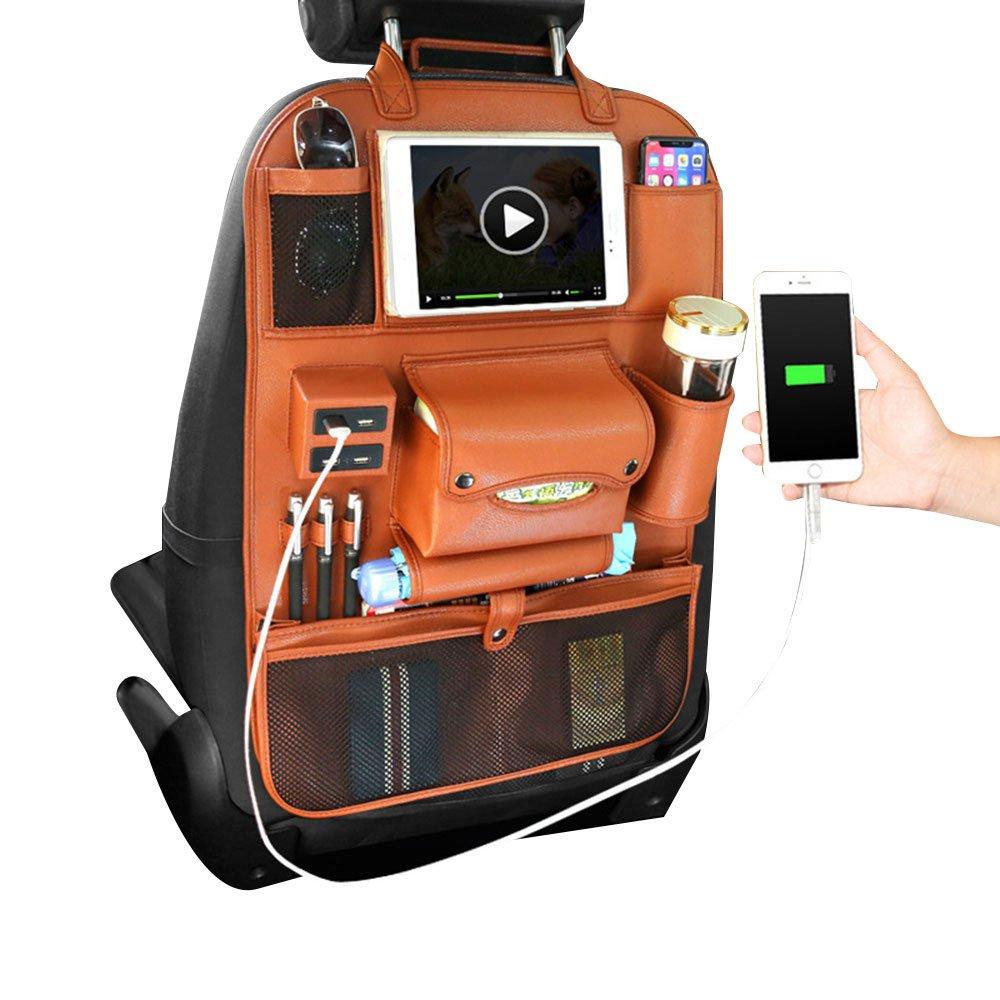pawaca auto sedile di ritorno di Organizer, PU Faktor stesso posteriore protettiva di conservazione sacchetto iPad Mini Halter con USB Port, bottiglie di borsa, Cassetta in tessuto, Ombrello di memoria marrone