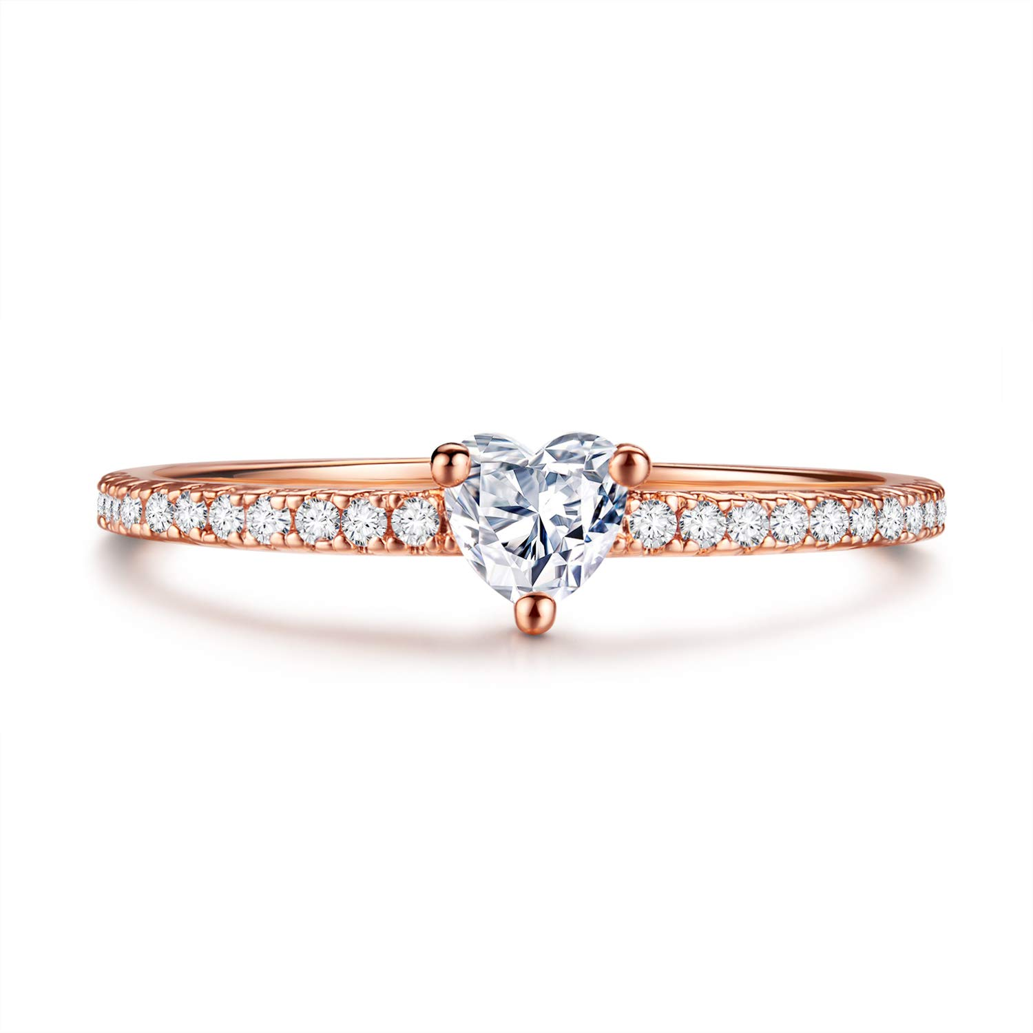 Kainier Engagement Rings CZ Heart Style 0.25ct Cubic Zirconia 14K Rose Gold Plated Promise Eternity Wedding Band for Girls and Women