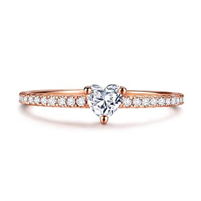 c63c3e9b8d Amazon.com: Kainier Engagement Rings CZ Heart Style 0.25ct Cubic Zirconia  14K Rose Gold Plated Promise Eternity Wedding Band for Girls and Women:  Jewelry