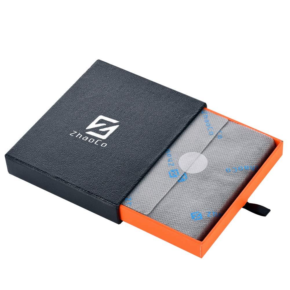 Protezione RFID Sottile Minimalista Mini Bifold Portafoglio Regalo ZhaoCo Vera Pelle Portafoglio Magico Tasca Frontale Porta Carte di Credito e Denaro con Finestra di Identificazione Marrone