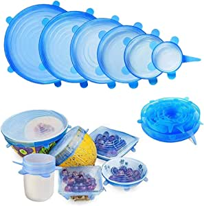 Apartner Silicone Stretch Lids, BPA Free Silicone Stretchable Food Covers, Reusable Durable Lid for Bowls, Cans and Mugs, Microwave Safe, 6PCS of Various Sizes - Blue