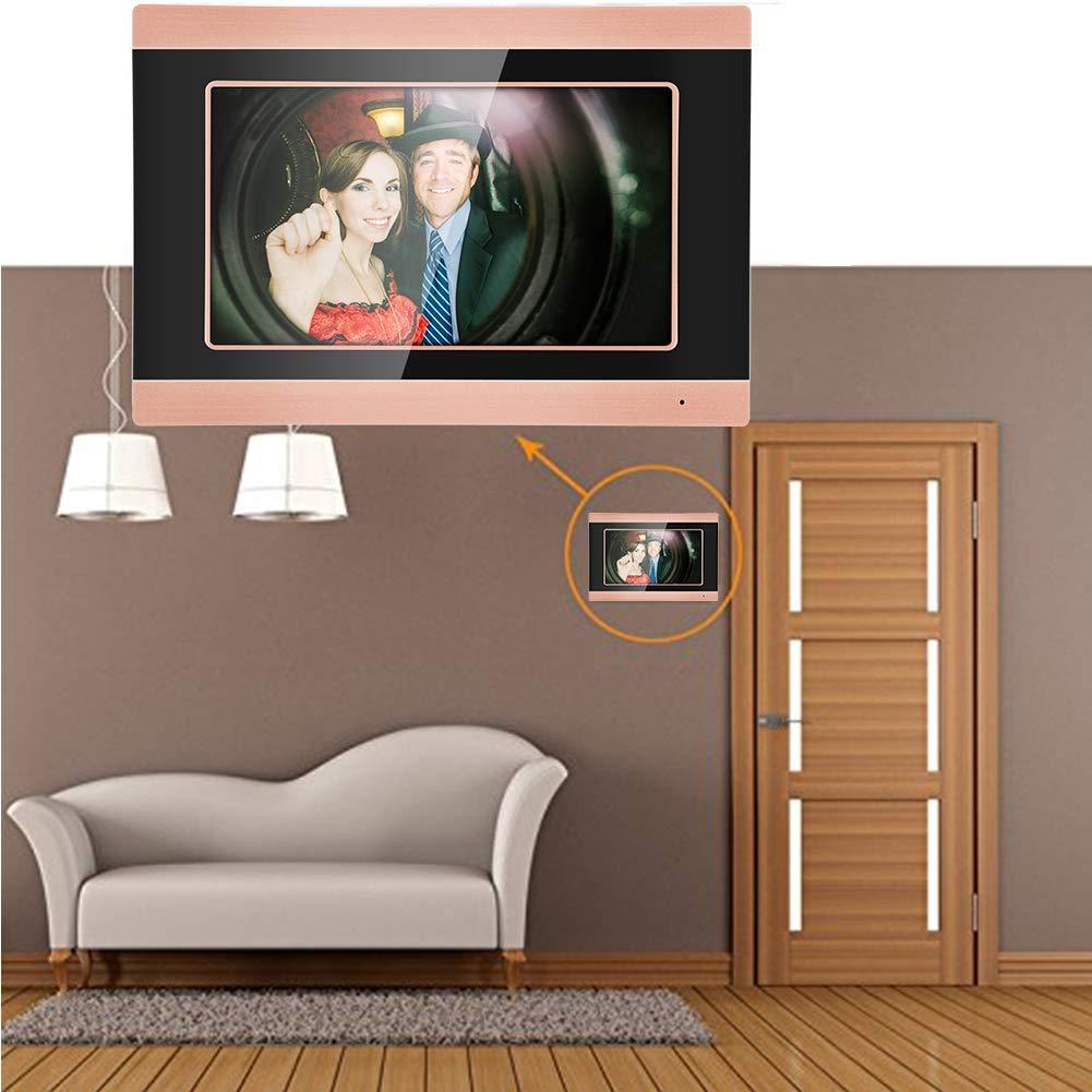 7 Pulgadas Pantalla t/áctil con Cable WiFi c/ámara de v/ídeo Puerta tel/éfono Anillo intercomunicador hogar Inteligente Timbre Kit Inteligente Sistema de c/ámara de Seguridad 1.00V