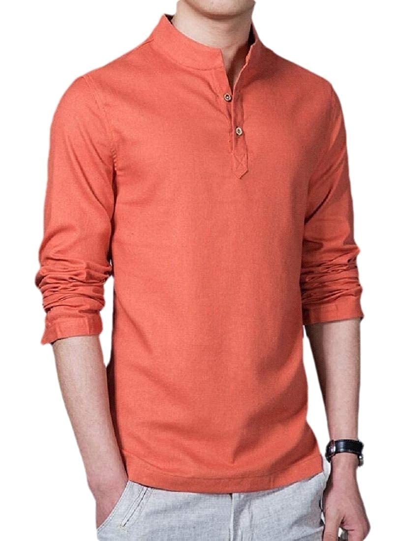 CYJ-shiba Mens Long-Sleeve Linen T-Shirts V-Neck Button Up Shirts Business Fit Blouse Tops