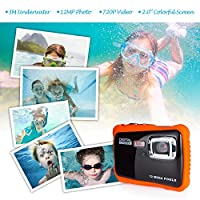 Kids Waterproof Digital Camera, FLAGPOWER Underwater Camera with 16G SD Card,12MP HD Pixels, 2.0 Inch Colorful Screen Sport Digital Video Camera Action Camcorder by FLAGPOWER
