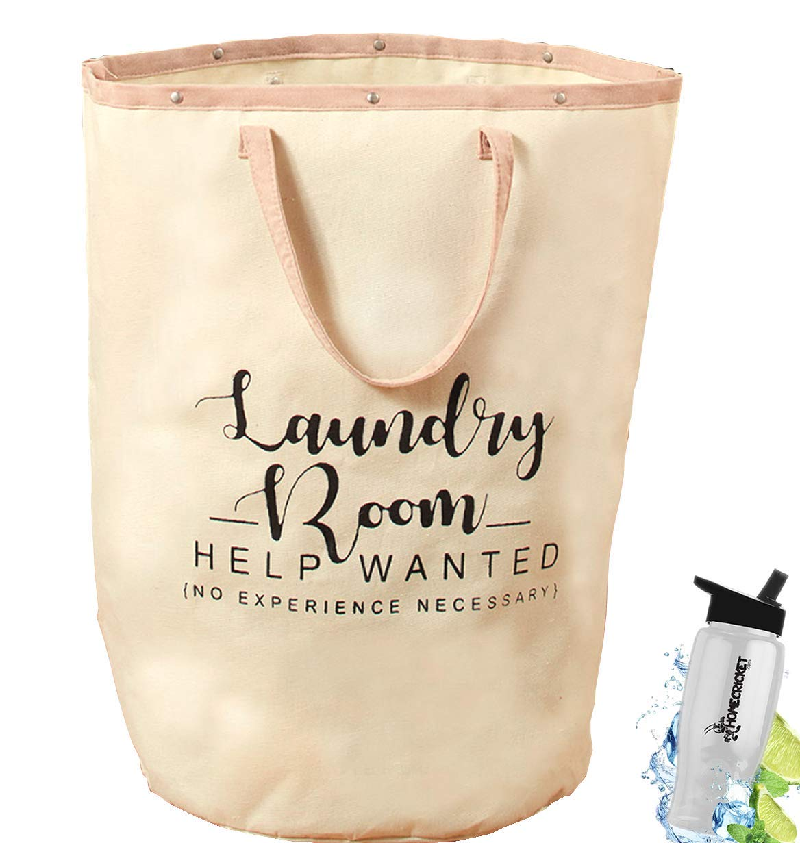 Gift Included- Jumbo Large Laundry Tote Bag With Handles For Laundry Room or Storage Cream + FREE Bonus Water Bottle by Home Cricket