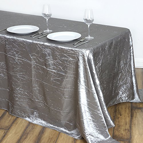 (Efavormart 90x132 Silver Crinkle Taffeta Rectangle Tablecloth for Catering Wedding Party Home Decorations)