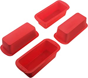 Set of 4 Silicone Mini Loaf Pan -- SILIVO Non-Stick Mini Loaf Baking Pans, Mini cake pan, Mini Bread Loaf pans for Cake, Bread , Meatloaf and Quiche - 5.7