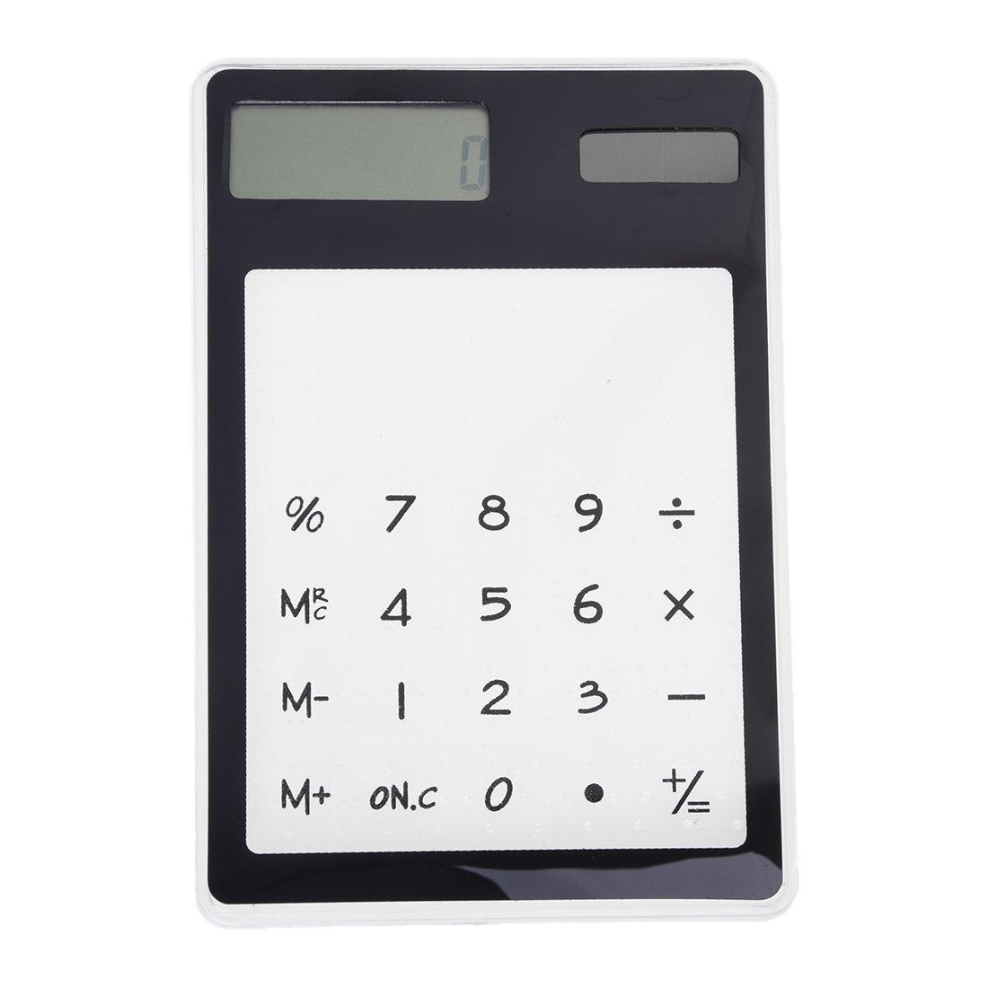 TOOGOO(R) Calculatrice de Bureau Solaire Tactile Transparent Noir 8 Chiffres