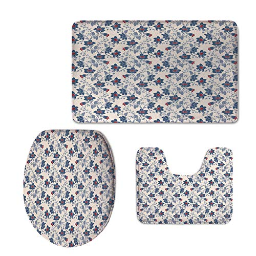 3 Piece Shower Mat Set,Floral,Classic Flowers Vivid Blooms Victorian Vintage Effects Pattern Decorative,Cream Night Blue ()