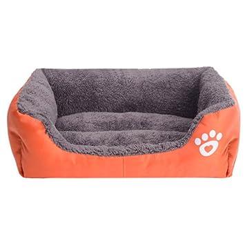 Yihya Lavable Lindo Cuadrado Naranjos Suave Calentar Mascotas Pet Perros Casa Choza Cachorro Gato Cama Doggy Doghouse Cojín Basket (Tamaño Mediano: 58 * 45 ...