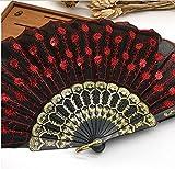 Red Home Decoration Crafts Vintage Retro Peacock Folding Fan Hand Plastic Lace Dance Fans