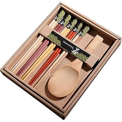 Siumir 6 Pares Japoneses Chopsticks Palillos de Madera Cuchara de Arroz Juego de Cubiertos Embalado en