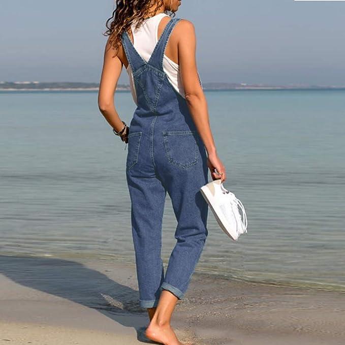Salopette retr/ò con Risvolto in Denim S-XXXL LANSKRLSP Salopette Donna Jeans alla Moda
