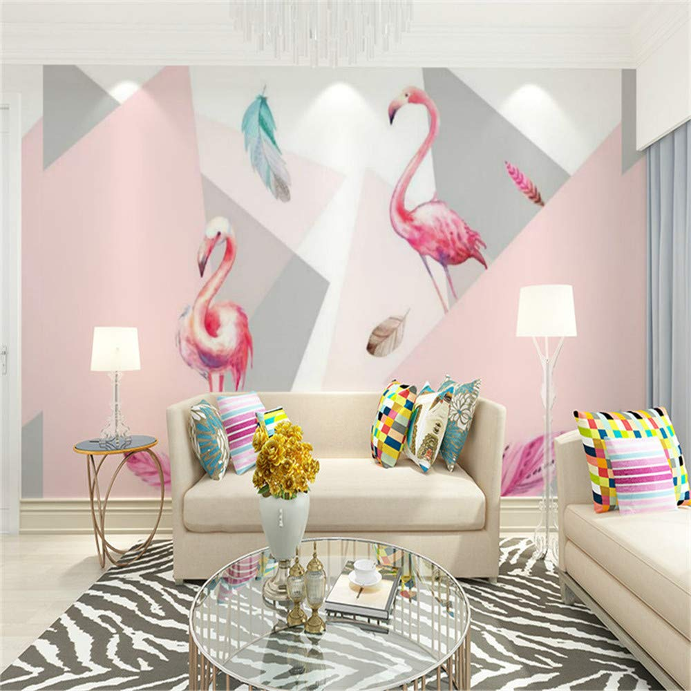 REAGONE Revestimiento de paredes sin costuras Flamingo Feather Habitación para niños Pintura decorativa de estilo europeo para sala de estar, 400X280 cm (157.5 por 110.2 in)