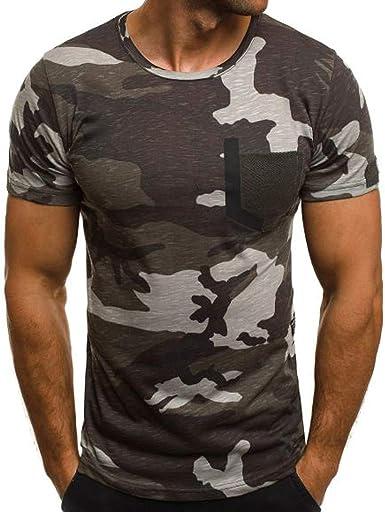 Camiseta para Hombre, VPASS Verano Manga Corta Impresión Camuflaje Moda Diario Slim Fit Casual T-Shirt Blusas Camisas Camiseta Jaspeada de Cuello Redondo Suave básica Chándal Hombres: Amazon.es: Ropa y accesorios