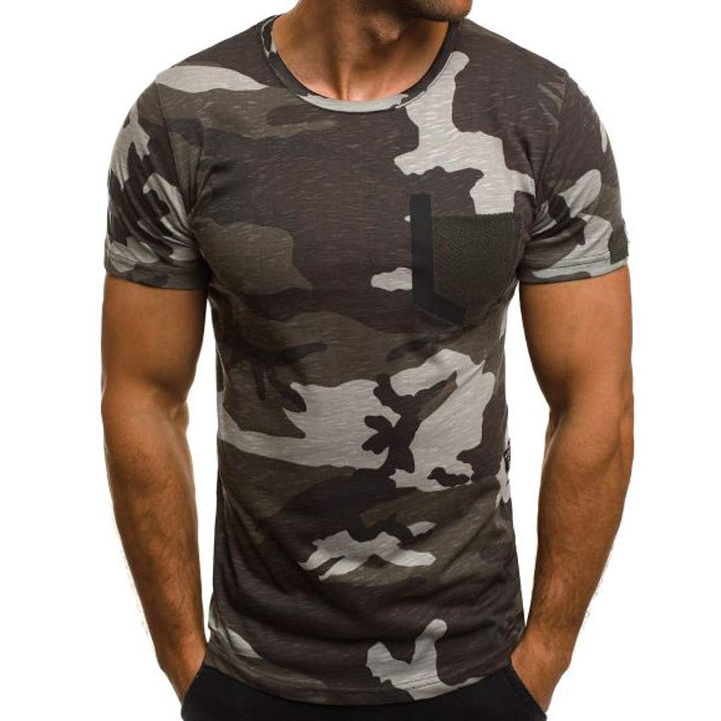 Basic T Shirt Men,Men's New Summer Casual Camouflage Printing Elastic Short Sleeve T-Shirt Tops,Gray,3XL