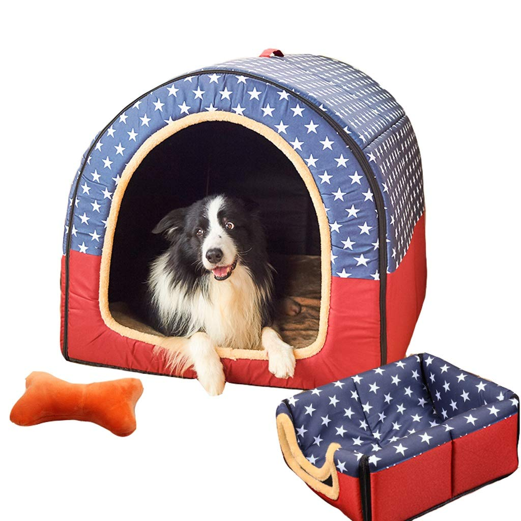 C M C M Guofangfang Kennel, 2 In 1 Dog House Large Dog Winter Warm Washable Mattress House Pet Supplies Cat Caves (color   C, Size   M)