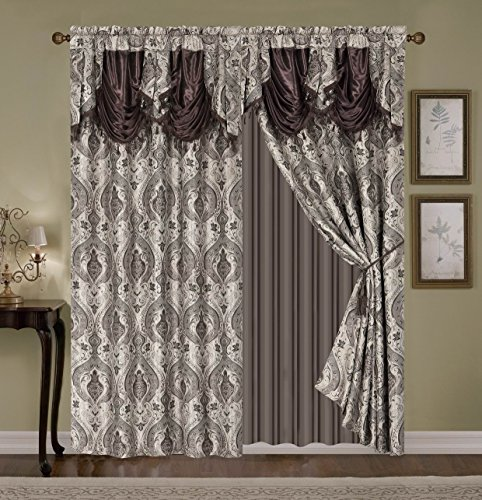 WPM'S Fabulous Luxury Embroidered Curtain Set. 4 Piece Gold Beige Brown Taupe Drapes with Backing & Valance & Tie Backs- WC 1226 (Coffee)