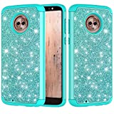 Moto G6 Glitter Case and Screen Protector,QFFUN Bling Shiny Skin Soft Silicone Inner + Hard Plastic Back Hybrid Double Layer 2 in 1 Shell Shockproof Anti-scratch Mobile Phone Protective Cover for Moto G6 Case - Green