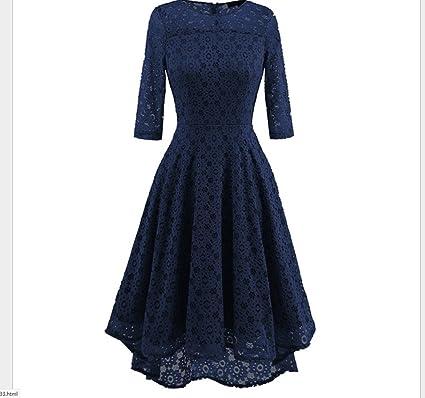 FXFAN Vestido de Dama de Honor de Siete Cuartos de Lady Spring y Summer, Vestido de Dama de Honor de Encaje Retro Vestido de Novia de Vestido de Péndulo ...