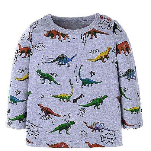Qtake Fashion Boys Clothes Dinosaur Style Tops Cotton Crewneck Long Sleeve Cartoon T-Shirt Children's Sweatshirt