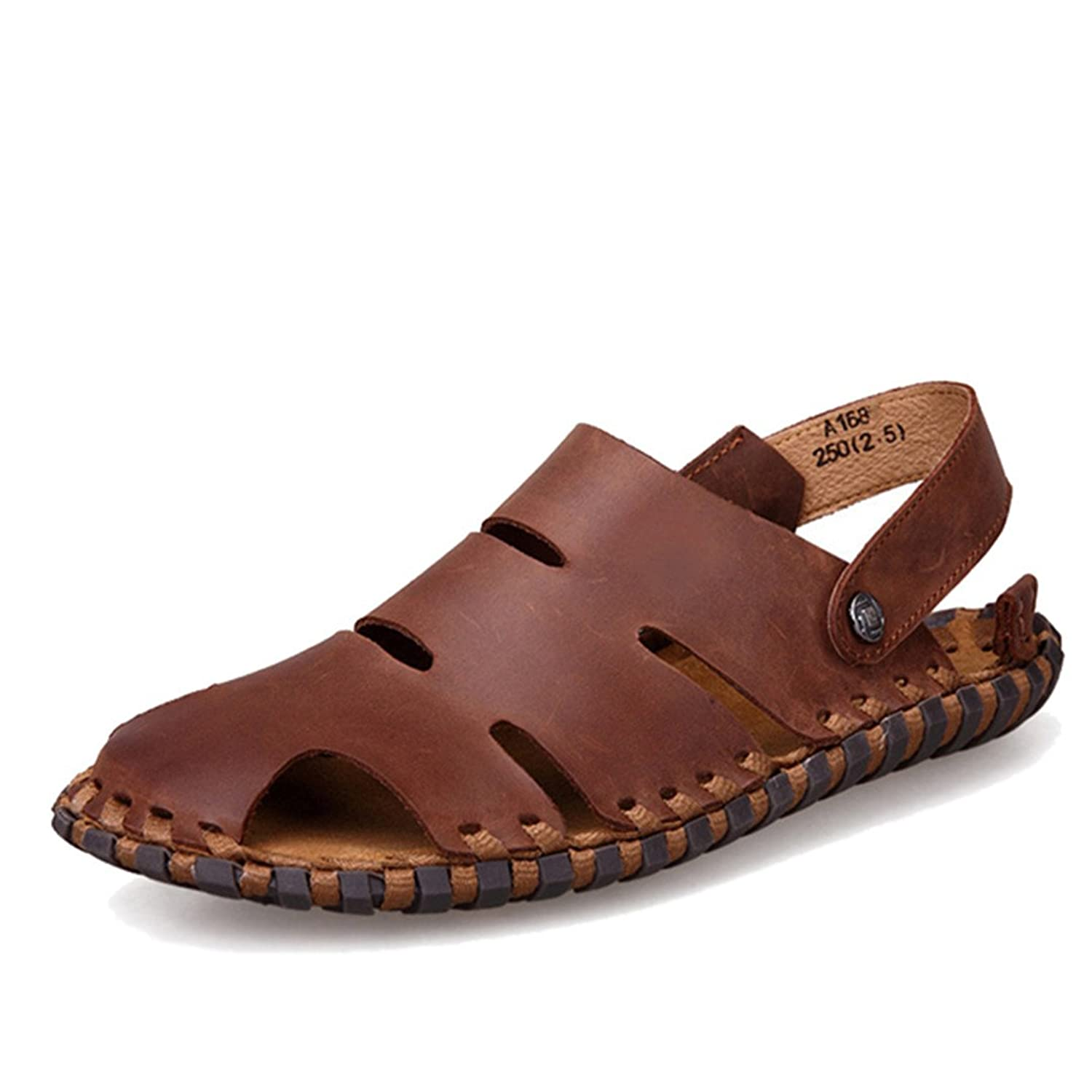 e3b5275f9 New Arrival Soft Leather Beach Sandals for Men Handmade Genuine Leather  Summer Shoes Male Retro Sewing Classics Slippers for Men Brown Men Sandals 6