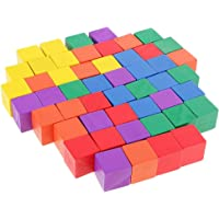 MagiDeal 50 Pieces Multi-colored Wooden Cubes Square Blocks Craft Decoration Embellishments Parts DIY Accessory Creative Games Toys