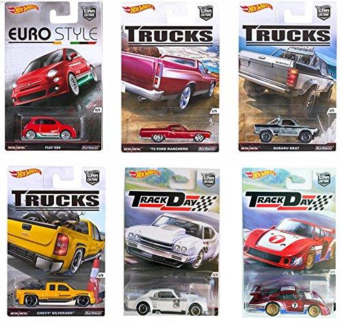 Hot Wheels Car Culture Trucks Track Day & Euro Style Set 2016 Chevy Chevelle, Silverado pickup, Suburu Brat, Fiat 500, Ford Ranchero, Porsche 935 Real Rider Tires 6 car set