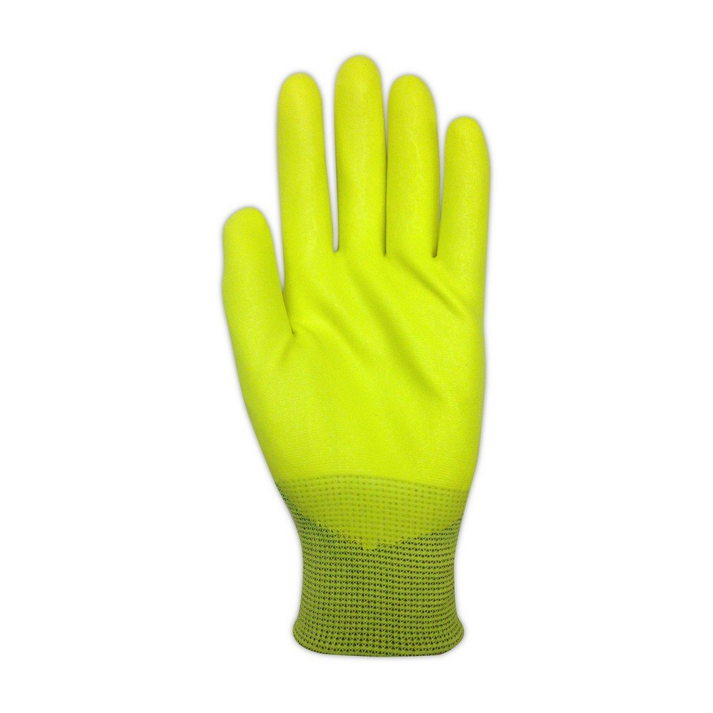 Magid Glove & Safety HV100 Magid ROC HV100 Hi-Viz Knit Gloves with Hi-Viz Micro-Foam Nitrile Palm Coating