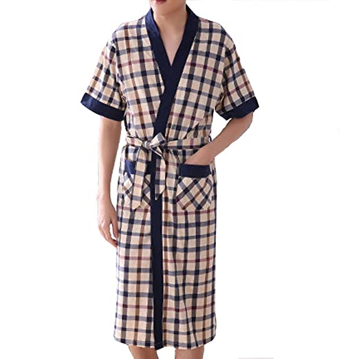 02ac51bf2e HIENAJ Men s Thin Cotton Plaid Kimono Robes Shawl Collar Lightweight Spa  Sleep Bathrobe at Amazon Men s Clothing store