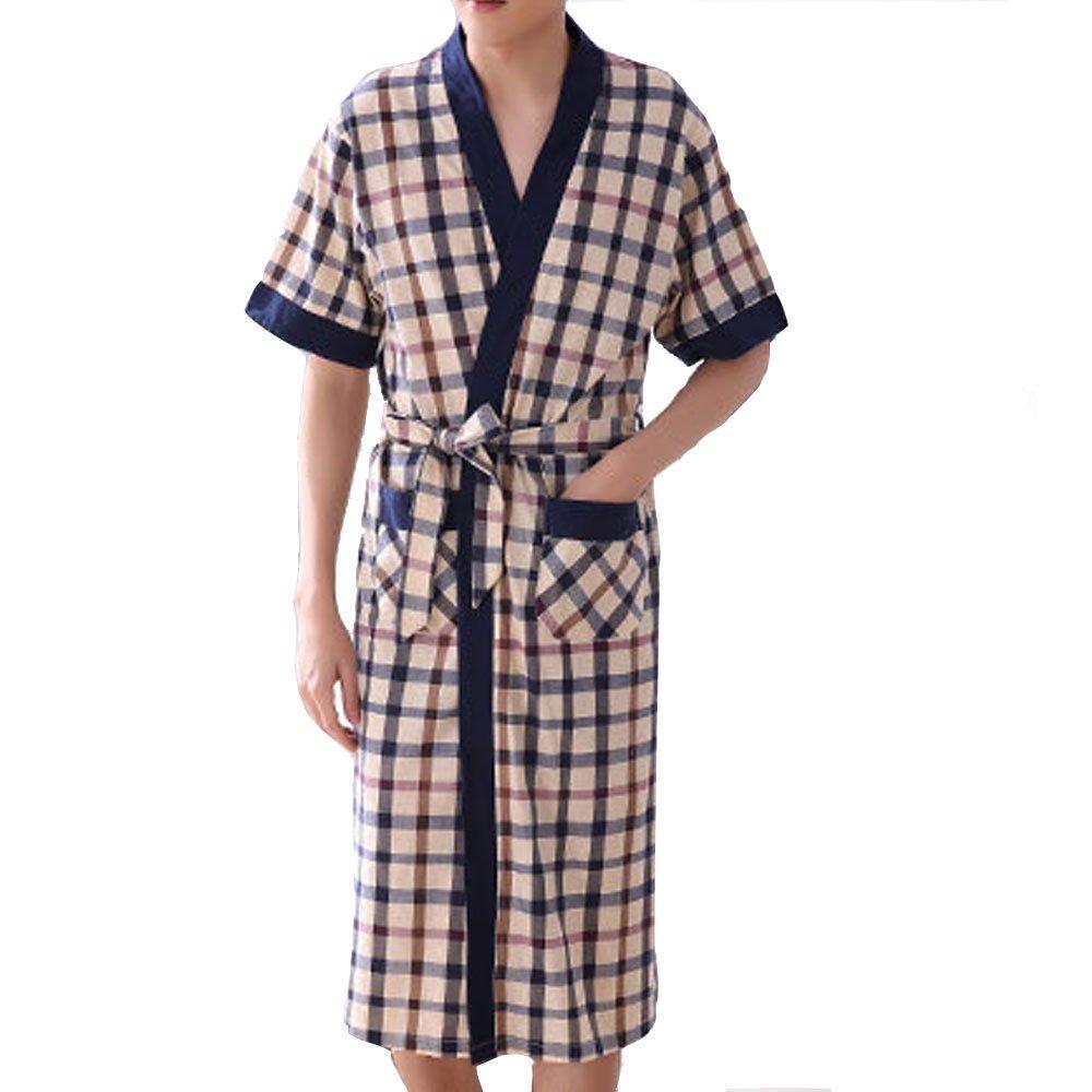 HIENAJ Men's Thin Cotton Plaid Kimono Robes Shawl Collar Lightweight Spa Sleep Bathrobe