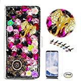 STENES LG Stylo 4 Case - Stylish - 3D Handmade Crystal Elephant Pretty Jewelry Floral Wallet Credit Card Slots Fold Media Stand Leather Cover with Screen Protector for LG Stylo 4 / LG Q710MS - Black