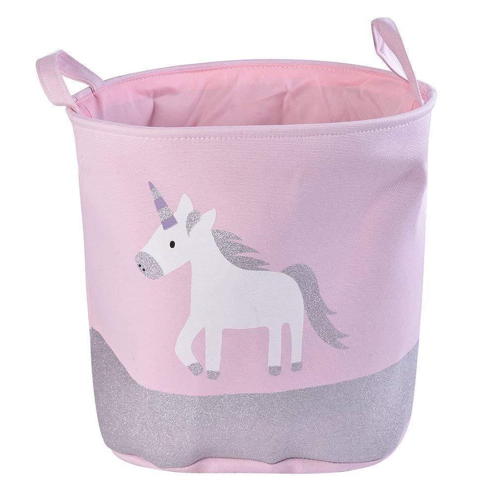Storage Baskets Kids, Cotton Cartoon Cute Toy Storage Bins Kids Laundry Basket Nursery Hamper with Handle Toy Box/Toy Organizer for Boys and Girls Medium Size (Pink Unicorn)