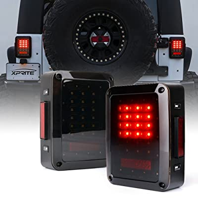 Xprite Bold Series Smoke Lens LED Tail Lights w/Red Brake Rear Light, Turn Signal & Back Up Light for Jeep Wrangler JK JKU 2007-2020: Automotive