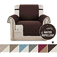 Waterproof Sofa 1 Seater Cover Chair Protectors Cover for Living Room Non Slip Furniture Cover for Dogs/Pets, Checked Pattern Thick Quilted, Non Slip Strap (1 Seater - Reversible Brown/Beige)