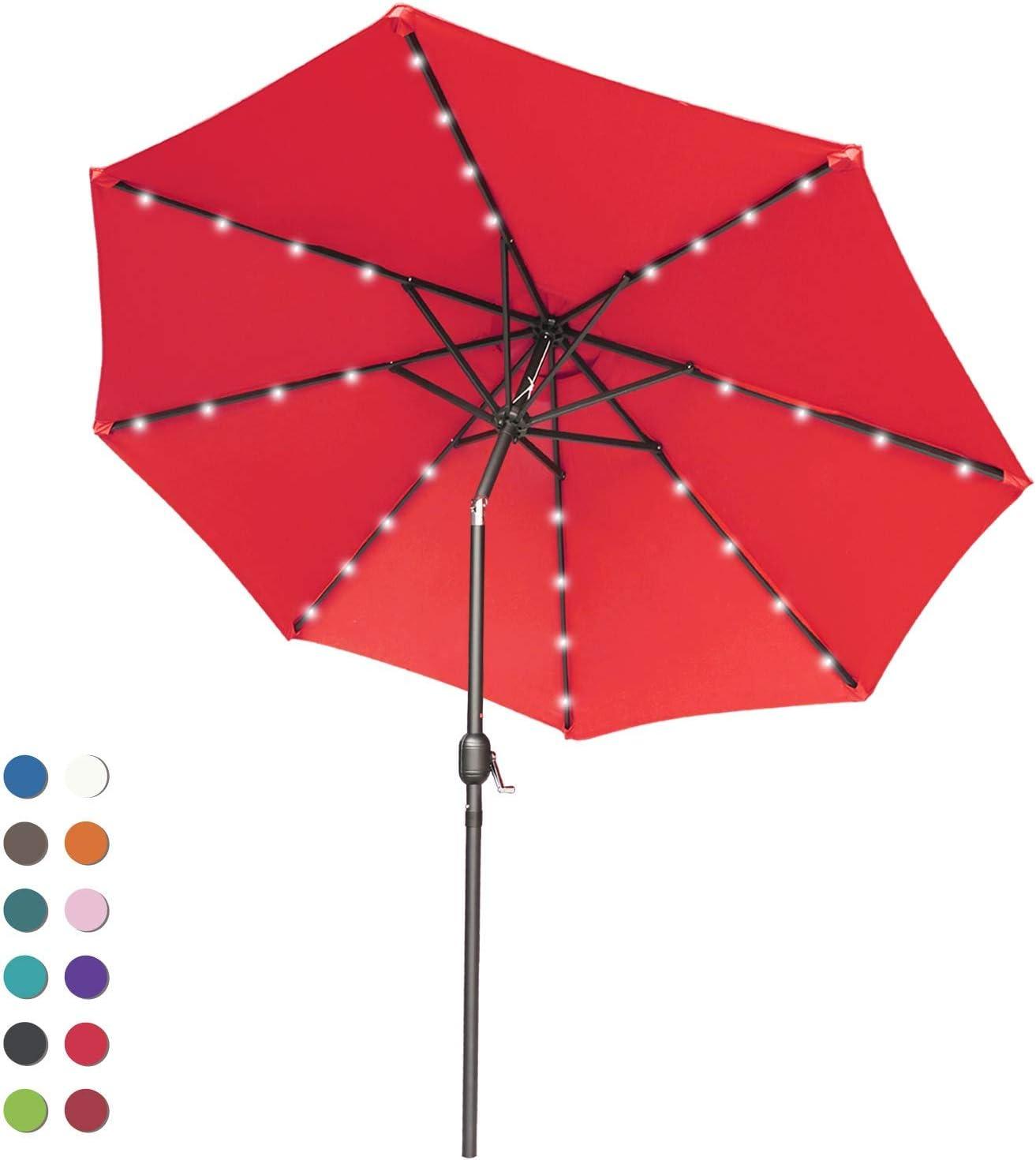 ABCCANOPY Patio Umbrella Ourdoor Solar Umbrella LED Umbrellas with 32LED Lights, Tilt and Crank Table Umbrellas for Garden, Deck, Backyard and Pool,12+Colors, (Red)