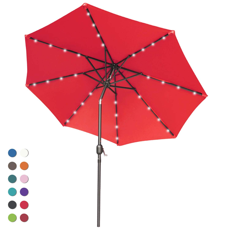 ABCCANOPY Solar Umbrellas Patio Umbrella 9 FT LED Umbrellas 32LED Lights with Tilt and Crank Outdoor Umbrella Table Umbrellas for Garden, Deck, Backyard, Pool and Beach,12+Colors, (Red) by ABCCANOPY