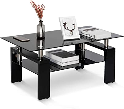 Amazon Com Merax Black Highlight Glass Top Cocktail Coffee Table