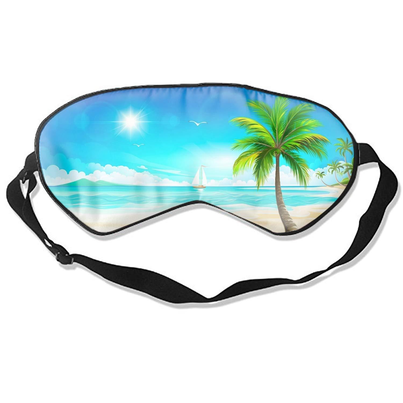 Artistic Beach Tropical Ocean Palm Tree Sun Sailboat Print Sleep Mask Light Blocking Soft Blindfold for Home Travel
