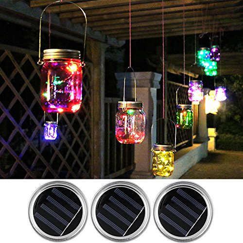 Mason Jar Light Lids-Solar LED Romantic 5 Color Changing String Lights-Fairy Lights for Decoration/ Party/ Christmas/ Carnival/ Easter/ Gardening/ Wedding/ Halloween/ Valentine's Day by MiYasi(3 PACK)