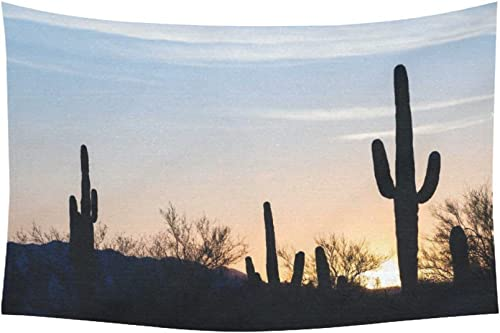 INTERESTPRINT Nature Scenery Wall Art Home Decor, Arizona Desert Landscape at Sunset with Saguaro Cactus Tapestry Wall Hanging Art Sets 90 X 60 Inches
